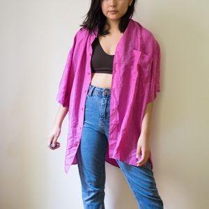 Pink silk top
